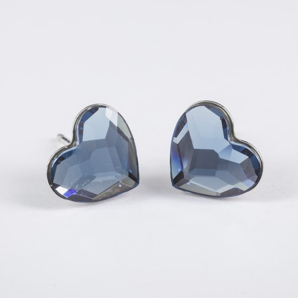Minđuše Heart w Denim Blue Crystals from Swarovski