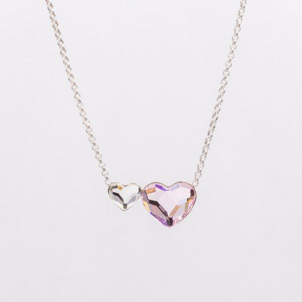 Ogrlica Twin Heart w Crystals from Swarovski (Crystal&Light Rose)