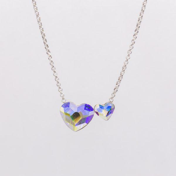 Ogrlica Twin Heart w Crystals from Swarovski (Crystal Aurore Boreale)