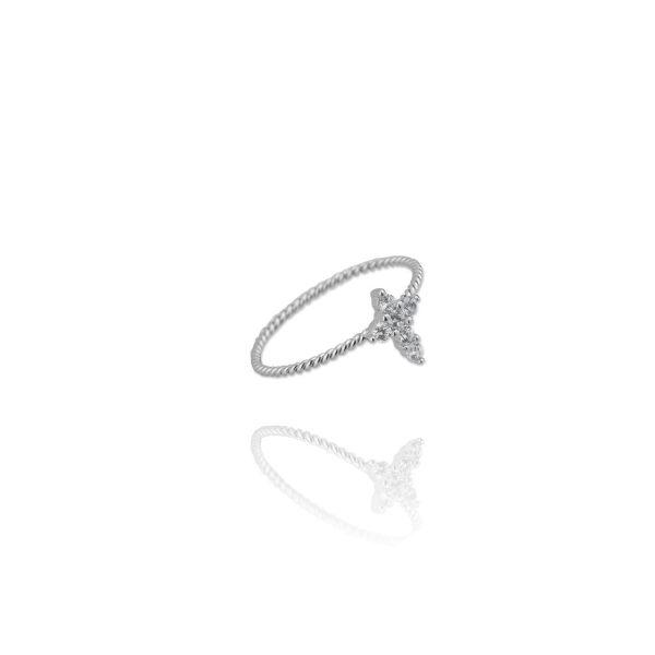 Prsten Cross Stones Silver